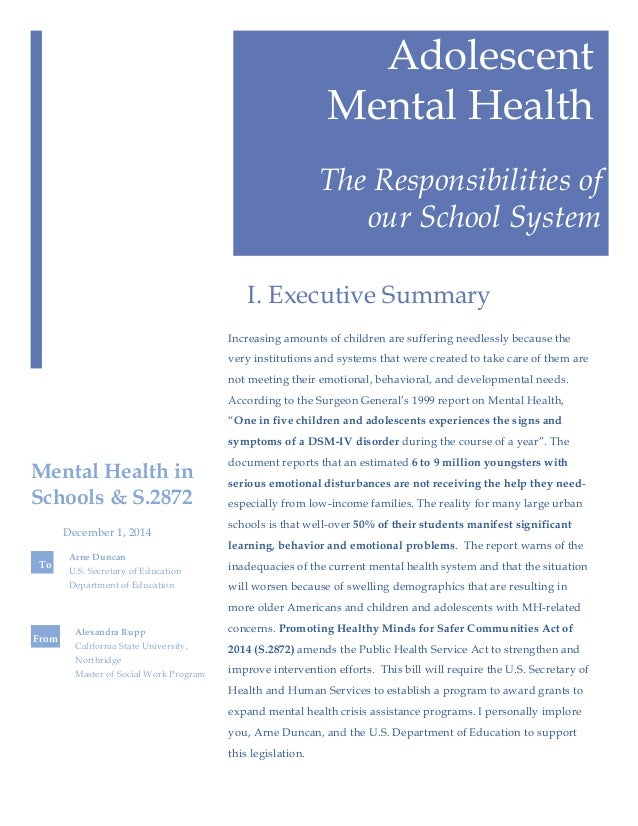 Mental Health in Schools: A Policy Brief