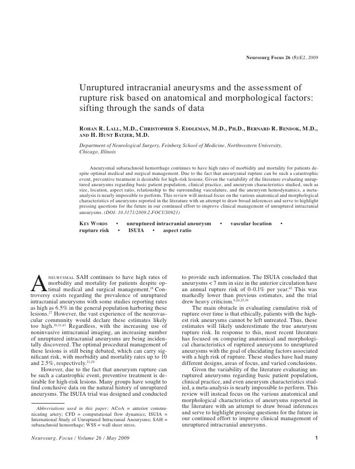 Neurosurg Focus 26 (5):E2, 2009                           Unruptured intracranial aneurysms and the assessment of         ...