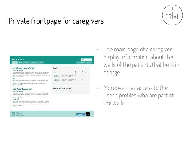 Private frontpagefor caregivers • The main page of a caregiver display information about the walls of the patients that he...