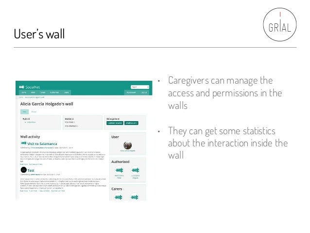 User'swall • Caregivers can manage the access and permissions in the walls • They can get some statistics about the intera...