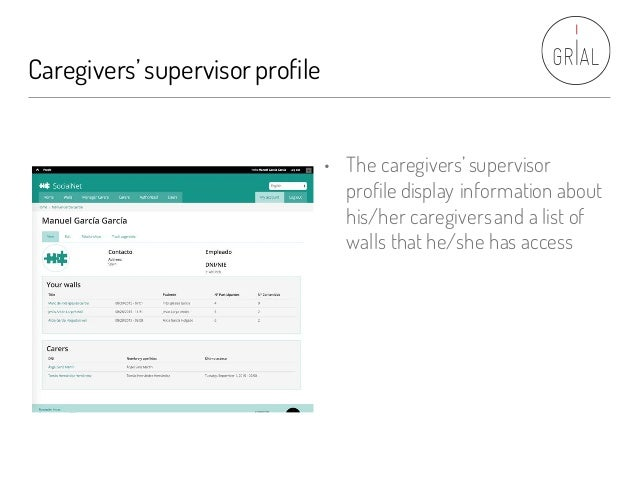 Caregivers'supervisorprofile • The caregivers'supervisor profile display information about his/her caregiversand a list of...