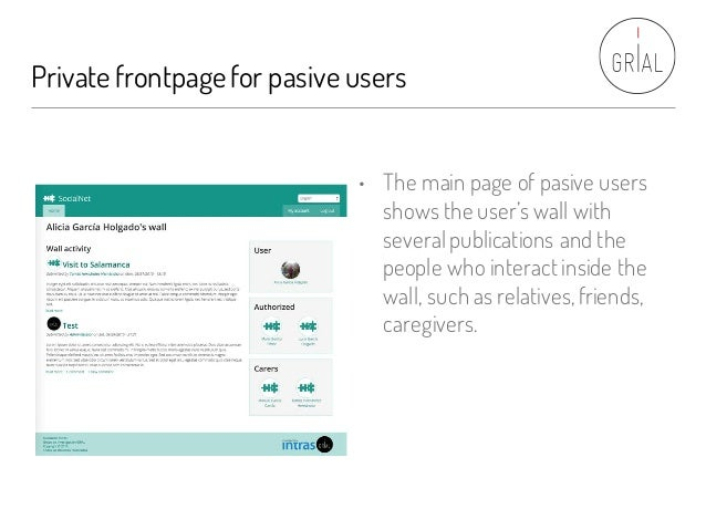 Private frontpagefor pasive users • The main page of pasive users shows the user's wall with several publications and the ...