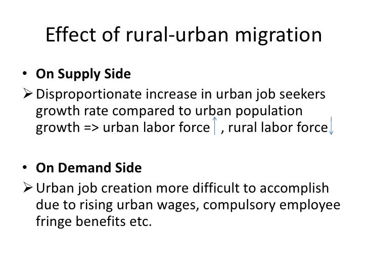 reason for migration from rural to urban