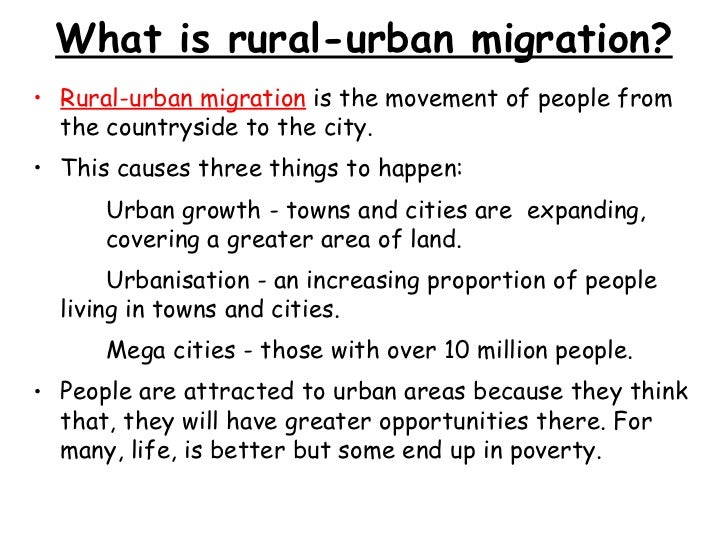 Case study rural to urban migration