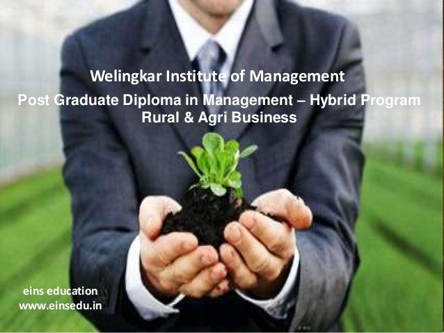 Welingkar Institute of Management Post Graduate Diploma in Management – Hybrid Program Rural & Agri Business  eins educati...