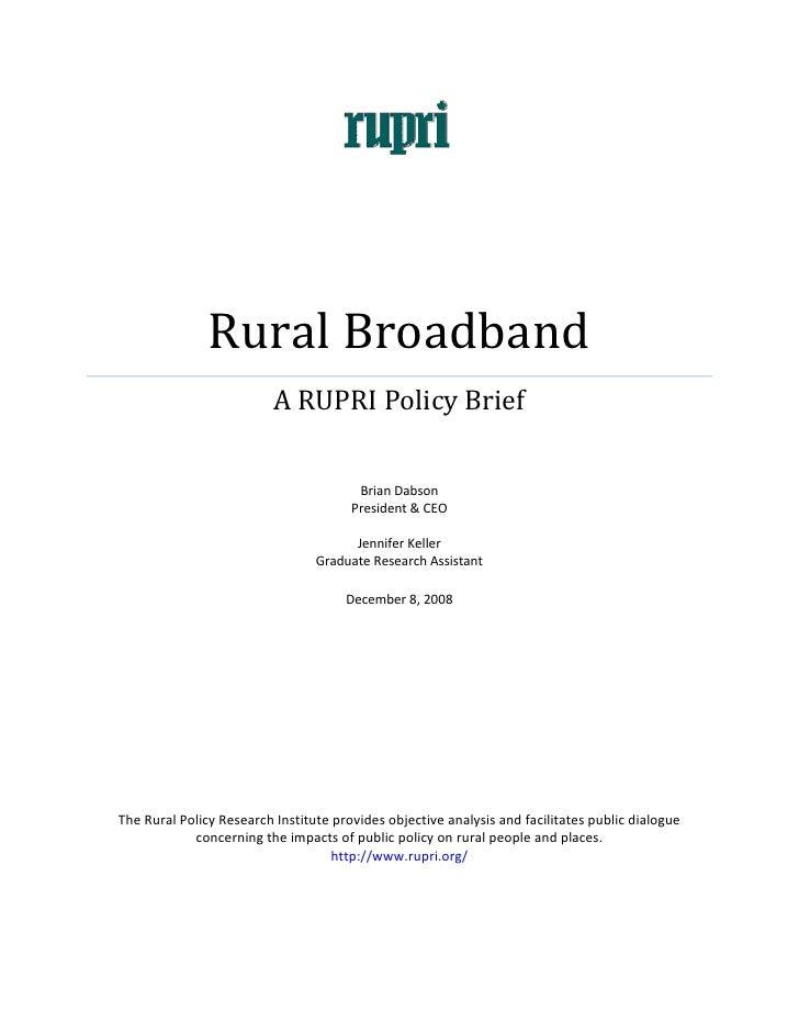 RuralBroadband                               ARUPRIPolicyBrief                          ...