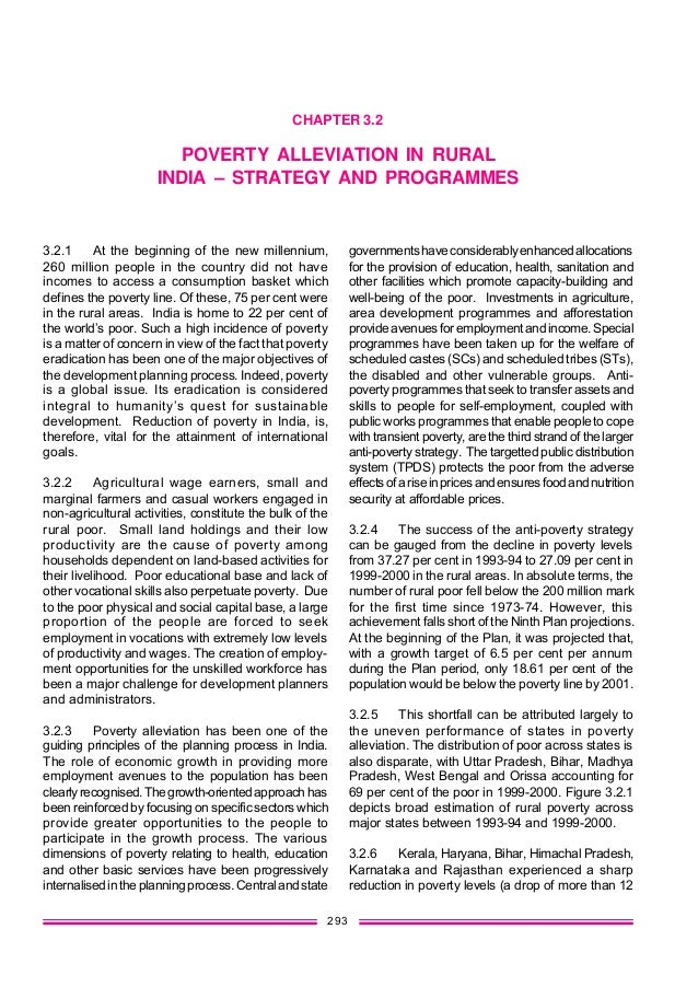 293 CHAPTER 3.2 POVERTY ALLEVIATION IN RURAL INDIA – STRATEGY AND PROGRAMMES 3.2.1 At the beginning of the new millennium,...