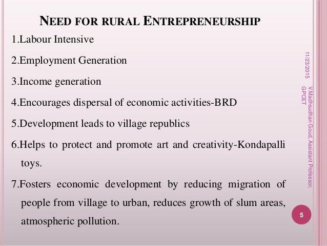 need for rural entrepreneurship