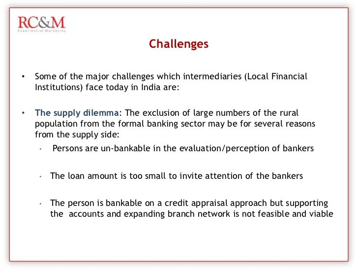 developing rural finance in india Beneficial for rural development in disadvantaged jurisdictions  1996 established mandatory provisions for decentralization to local governments in rural india.