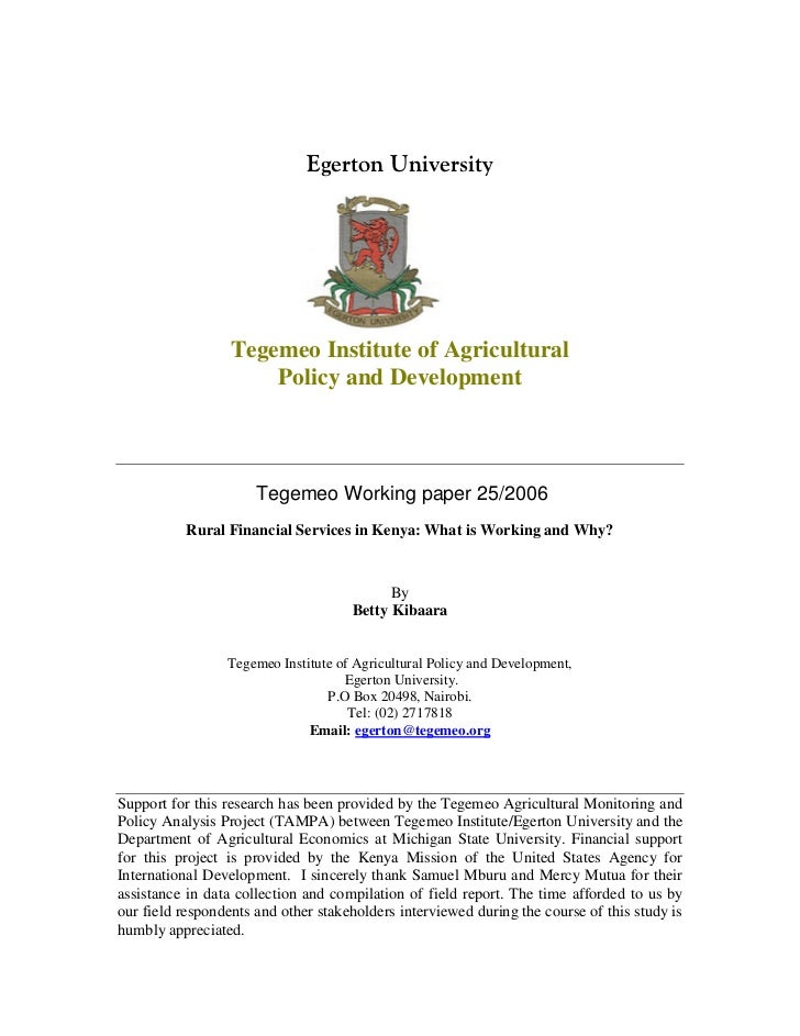 Tegemeo Institute of Agricultural                      Policy and Development                      Tegemeo Working paper 2...