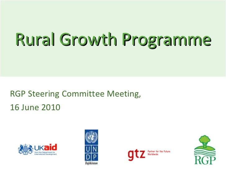 Rural Growth Programme RGP Steering Committee Meeting,  16 June 2010