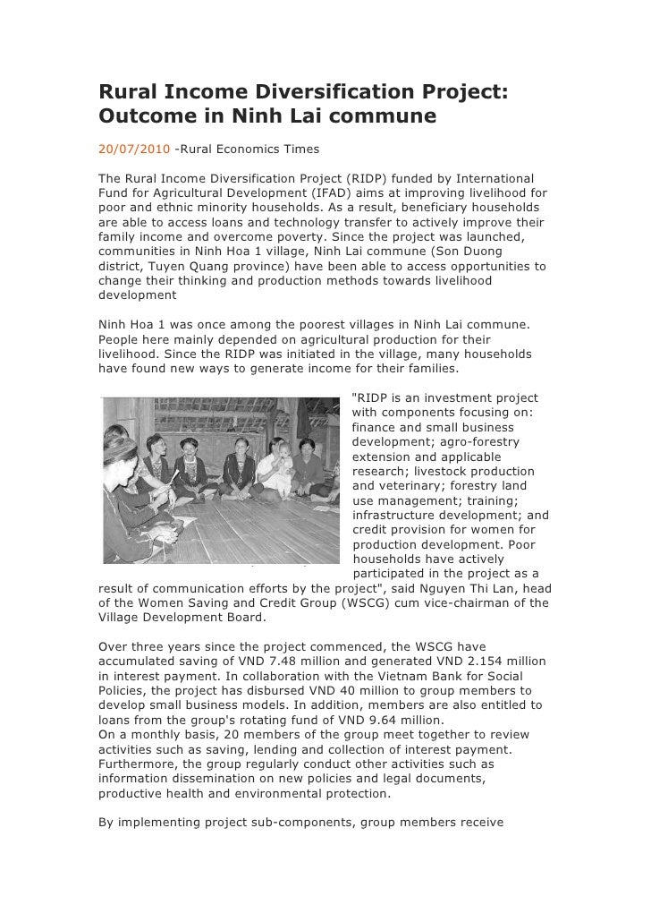 Rural Income Diversification Project: Outcome in Ninh Lai commune<br />20/07/2010 -Rural Economics Times<br />The Rural In...