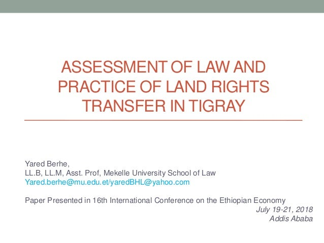 Assessment of LAW and Practice of Land Rights Transfer in Tigray