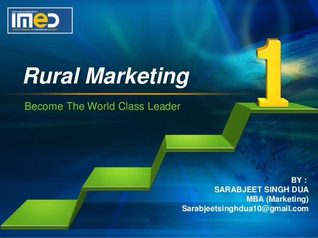 rural marketing Rural marketing process is an outcome of the general rural development process initiation and management of social and economic change in the rural sector is the core of the rural marketing process challenges in rural market.