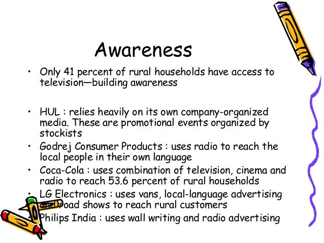 rural marketing in consumer electronics India constitutes 122% of world's consumers about 70% of this figure lives in rural area which forms an untapped market of 850 million consumers this large consumer base,which is fundamentally distinct from its urban counterpart, has forced marketers to brain storm new strategies to occupy this larger share of indian market pie because this market segment is tricky to crack.