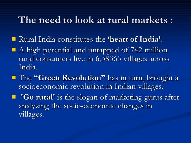 rural marketing revolution in india Green revolution has not been very successful in india  in the rural areas due  to extensive agricultural programs, mechanization has been rapid, which has   the marketing system of agriculture should be improved.