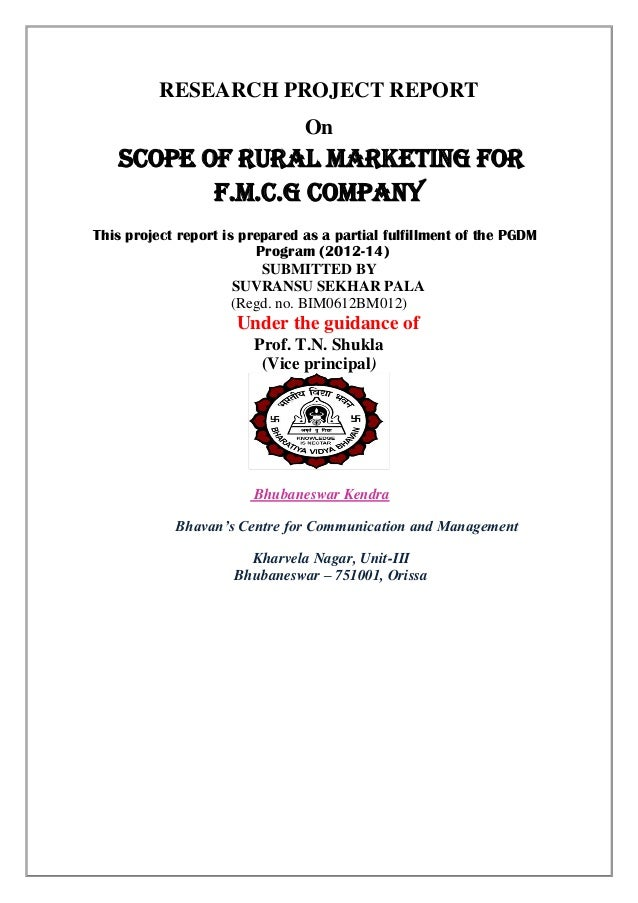 Rural marketing on fmcg sector pdf