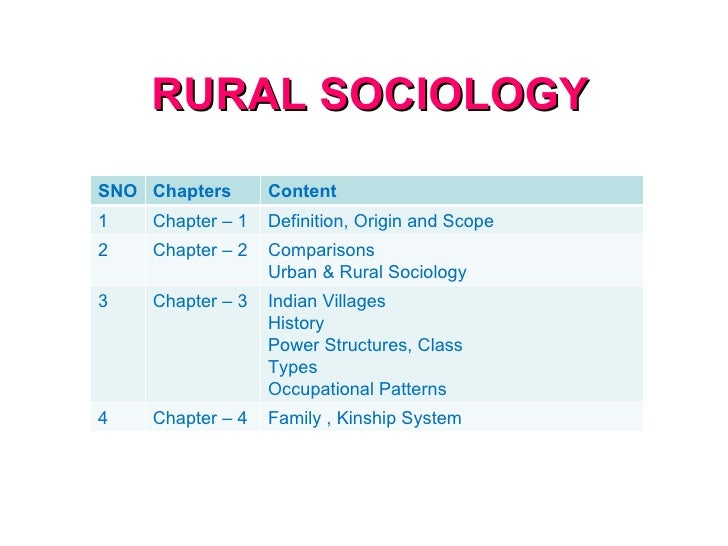 lecture notes on rural sociology pdf