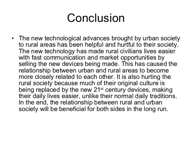 Compare / Contrast On Rural Versus Urban Living