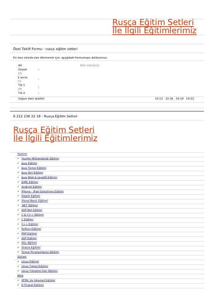 Rusça Eğitim Setleri                                                                     İle İlgili EğitimlerimizÖzel Tekl...