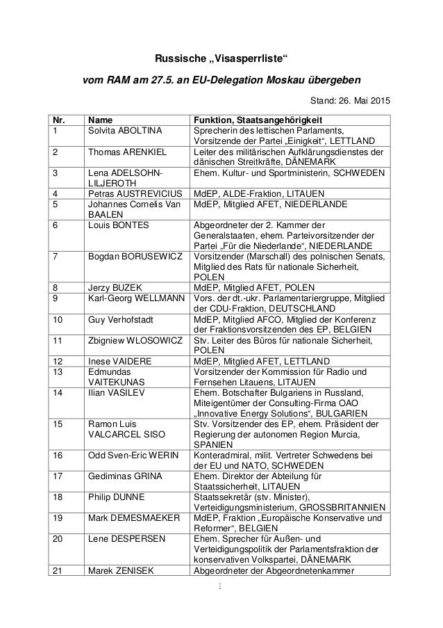 """1 Russische """"Visasperrliste"""" vom RAM am 27.5. an EU-Delegation Moskau übergeben Stand: 26. Mai 2015 Nr. Name Funktion, Sta..."""