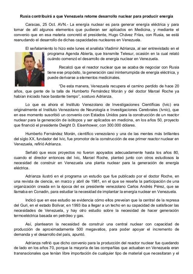 Rusia contribuirá a que Venezuela retome desarrollo nuclear para producir energía Caracas, 25 Oct. AVN.- La energía nuclea...