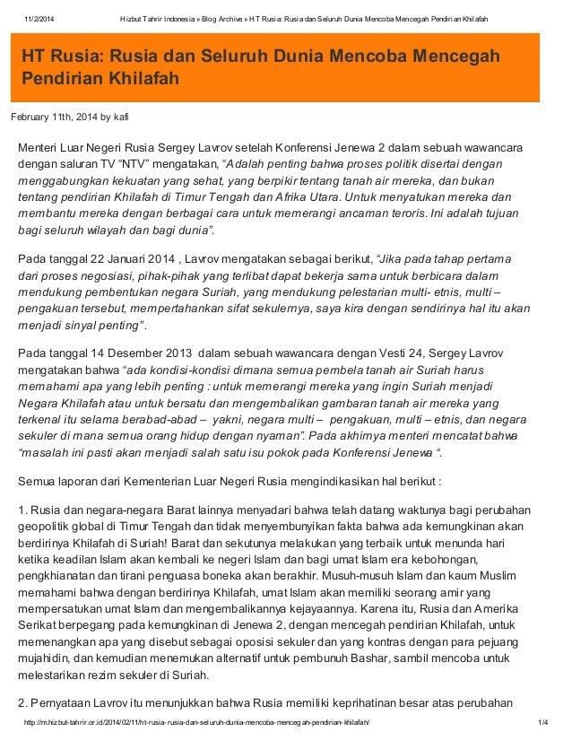 11/2/2014  Hizbut Tahrir Indonesia » Blog Archive » HT Rusia: Rusia dan Seluruh Dunia Mencoba Mencegah Pendirian Khilafah ...