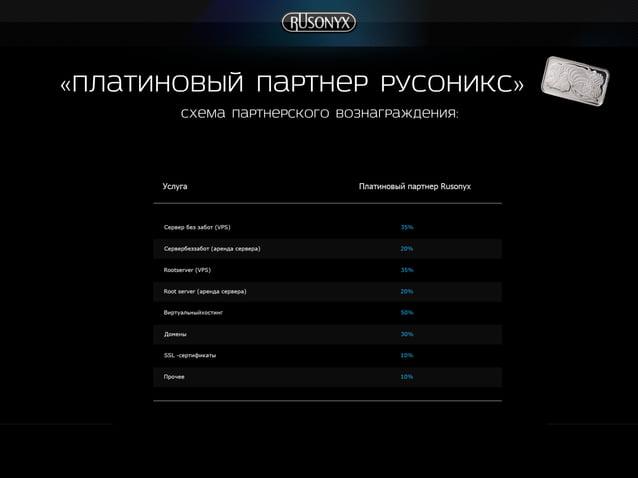 Схема партнерского вознаграждения: «платиновый Партнер Русоникс»
