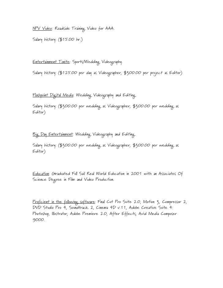 salary history resume