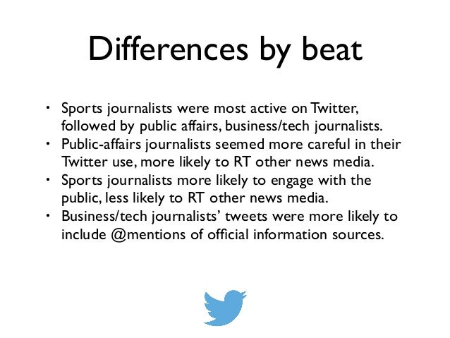 Differences by beat • Sports journalists were most active on Twitter, followed by public affairs, business/tech journalist...