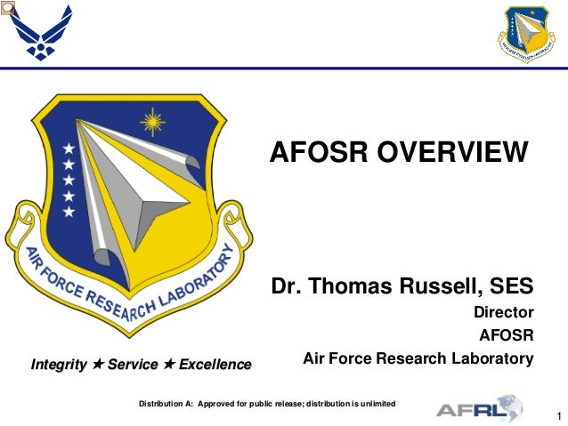 1 Integrity  Service  Excellence AFOSR OVERVIEW Dr. Thomas Russell, SES Director AFOSR Air Force Research Laboratory Dis...
