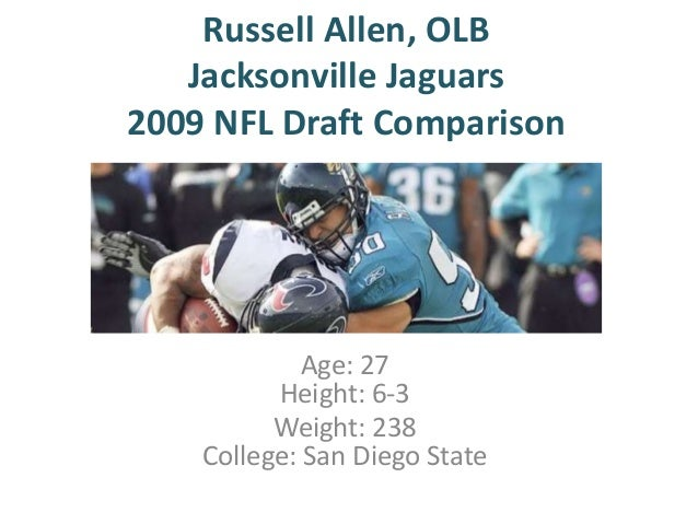 Russell Allen, OLB Jacksonville Jaguars 2009 NFL Draft Comparison  Age: 27 Height: 6-3 Weight: 238 College: San Diego Stat...