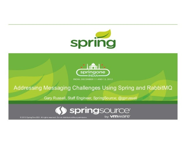 Addressing Messaging Challenges Using Spring and RabbitMQ © 2012 SpringOne 2GX. All rights reserved. Do not distribute wit...
