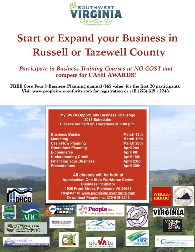 Start or Expand your Business in Russell or Tazewell County Participate in Business Training Courses at NO COST and compet...