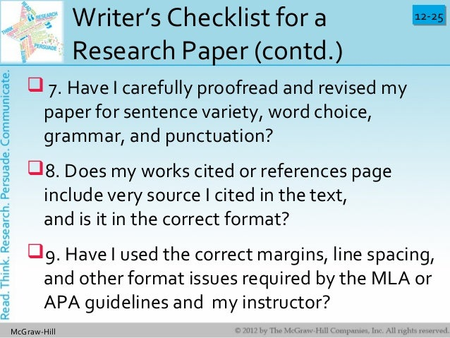 proofreading checklist for research paper A research paper-editing checklist is an essential tool because the task of putting together a quality paper involves many steps do you need an effective research.