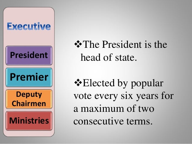 President Premier Deputy Chairmen Ministries The President is the head of state. Elected by popular vote every six years...
