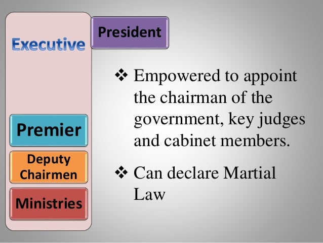 President Premier Deputy Chairmen Ministries  Empowered to appoint the chairman of the government, key judges and cabinet...