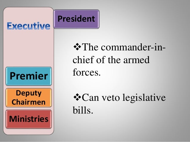 President Premier Deputy Chairmen Ministries The commander-in- chief of the armed forces. Can veto legislative bills.
