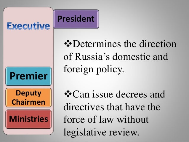 President Premier Deputy Chairmen Ministries Determines the direction of Russia's domestic and foreign policy. Can issue...