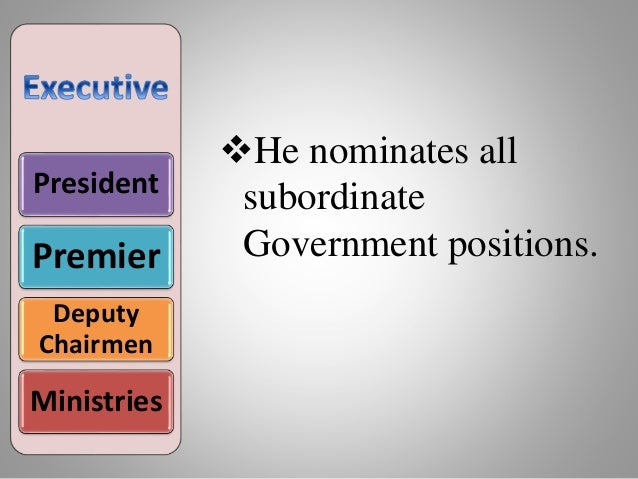 President Premier Deputy Chairmen Ministries He nominates all subordinate Government positions.