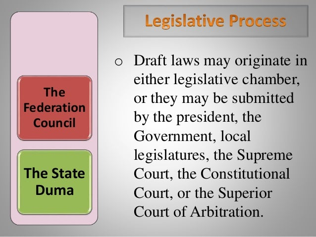 The Federation Council The State Duma o Draft laws may originate in either legislative chamber, or they may be submitted b...