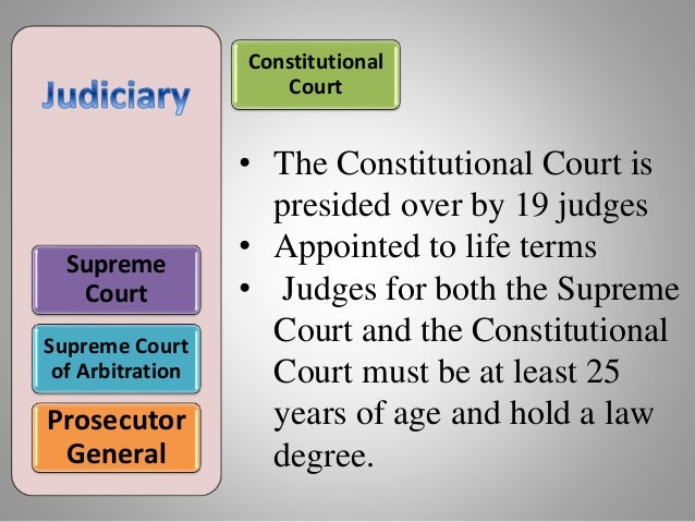 Supreme Court Supreme Court of Arbitration Prosecutor General • The Constitutional Court is presided over by 19 judges • A...
