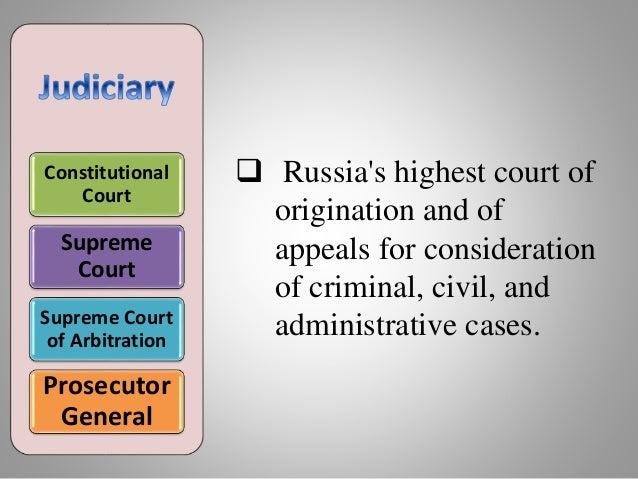 Constitutional Court Supreme Court Supreme Court of Arbitration Prosecutor General  Russia's highest court of origination...