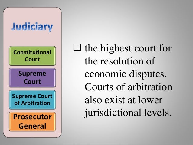 Constitutional Court Supreme Court Supreme Court of Arbitration Prosecutor General  the highest court for the resolution ...