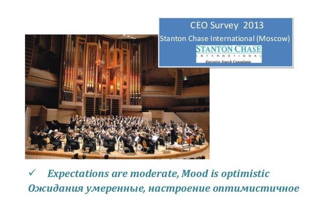 CEO Survey 2013 Stanton Chase International (Moscow)   Expectations are moderate, Mood is optimistic Ожидания умеренные, ...