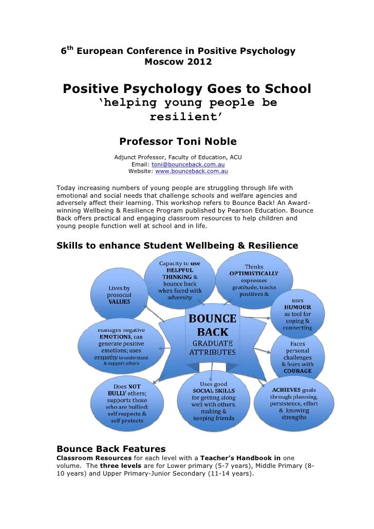 6th European Conference in Positive Psychology                 Moscow 2012 Positive Psychology Goes to School      'helpin...