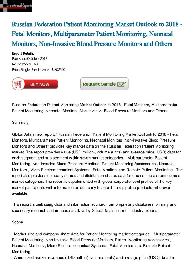 Russian Federation Patient Monitoring Market Outlook to 2018 -Fetal Monitors, Multiparameter Patient Monitoring, NeonatalM...