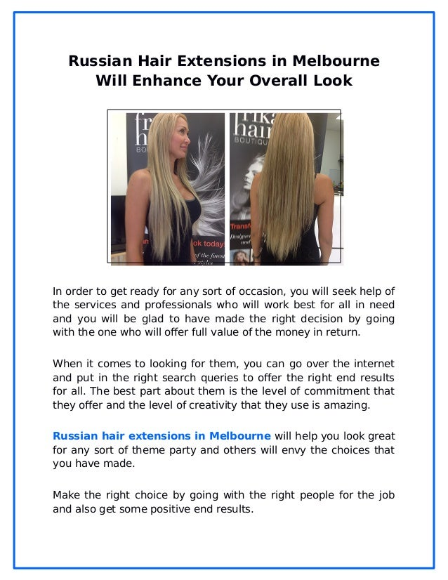 Russian Hair Extensions In Melbourne Will Enhance Your Overall Look