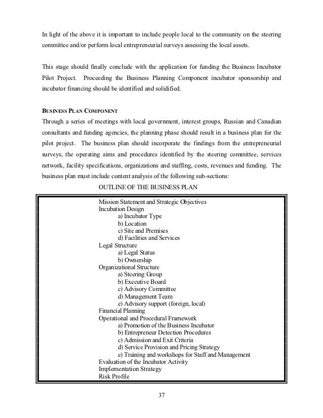 Business plan for business incubator
