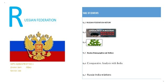 1 1 USSIAN FEDERATION IGPE ASSIGNMENT NO 2 Sindoor Naik MBA3 Roll No: 1365 TABLE OF CONTENTS Pg.2 RUSSIAN FEDERATION HISTO...
